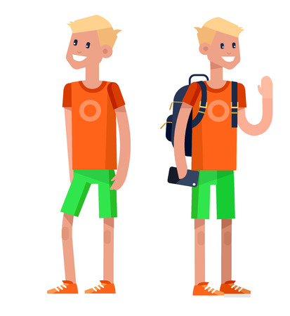 elementary: Vector detailed character flat design child student. Kids  smiling holding Gadgets and backpacks. Primary or elementary school child character. Vector child character isolated on white background