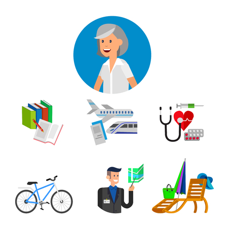 old age: vector detailed character senior, senior age. Old age woman and icons. Pension hobbies and interests leisure of pensioner