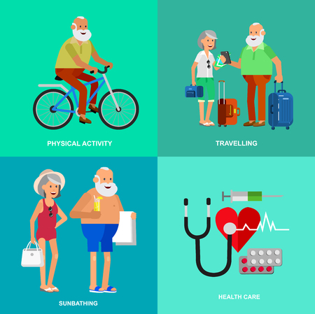 third age: Character senior, senior age travelers. Elderly couple senior having summer vacation. Old tourists with map and gadget, senior in swimsuits go on beach, riding on a bicycle. Healt icons