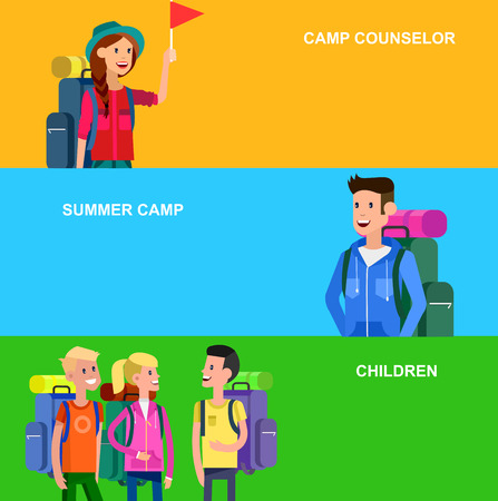 counselor: vector illustration of kids summer camp. Vector characters   camp counselor and children. Camping banner and icon. Vector kids summer camp. Illustration summer camp