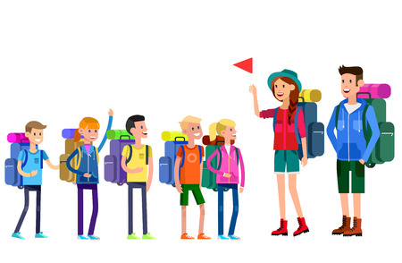 cartoon school girl: vector illustration of kids summer camp. Vector characters   camp counselor and children. Camping banner and icon. Vector kids summer camp. Illustration summer camp