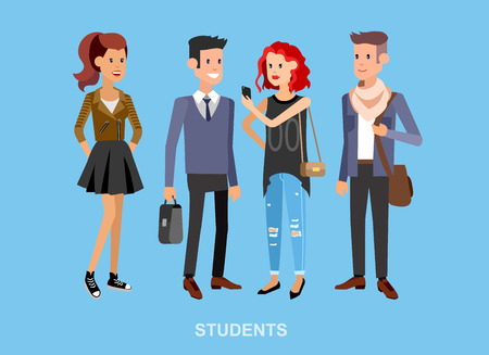 exam preparation: Vector character graduate and students, university students. University courses banner, exam preparation. University education banner, vector students, illustration students