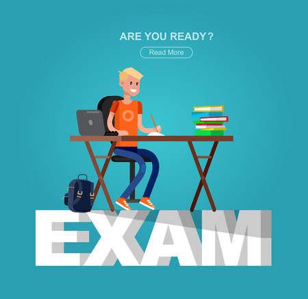 homework: Studying in classroom with homework. Flat character children studying, style vector child studying, Schoolchildren studying illustration