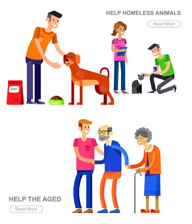 Vecteur détaillé des bénévoles de caractère concept avec une femme volontaire et un homme bénévole aidant les personnes âgées, des bénévoles des soins vétérinaires pour les animaux sans-abri, chien d'alimentation et de chat. Vector set Volunteer Vecteurs
