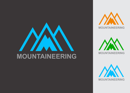 ski resort: Business Icon - Vector logo design template. Abstract emblem for mountaineering, mountain exploration, outdoors adventure, skiing, ski resort, recreation tourism, camping equipment, Illustration