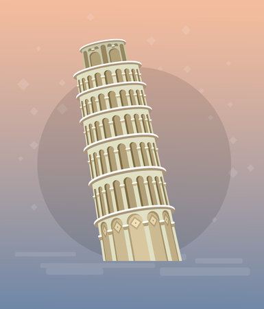 High quality, detailed most famous World landmark. Leaning Tower of Pisa, Italy, Europe. Travel vector. Travel illustration. Travel landmarks. Happy travel