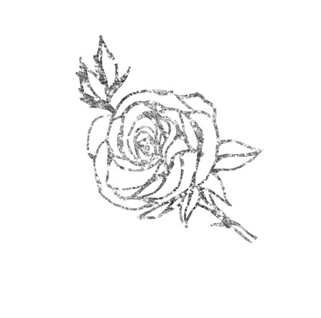 silver: Glowing silver rose on background. Silver sparkles rose. Silver banner. Illustration