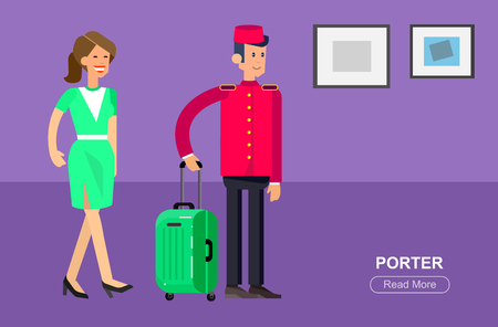 hotel staff: Hotel staff and service, reception,  detailed character porter cool flat tourism elements