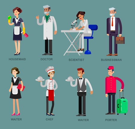 baker cartoon: Profession people. Detailed character professionals . Illustration of character Profession people. Vector flat Profession people
