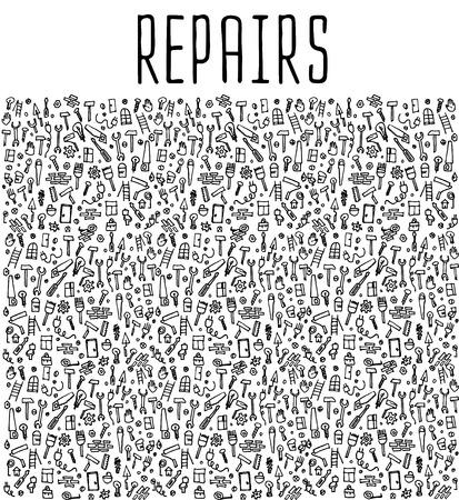 Hand drawn repairs construction tools seamless logo, repairs doodles elements, repairs seamless background. Repairs sketchy illustration