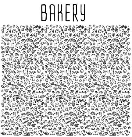 Hand getrokken bakkerij naadloos logo, bakkerij doodles elementen, bakkerij naadloze achtergrond. Bakkerij Vector schetsmatig illustratie