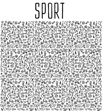 Hand drawn Sport and fitness elements, seamless logo, Sport and fitness doodles elements, Sport and fitness seamless background. Sport and fitness sketchy illustration Illustration