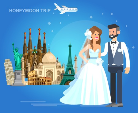 High quality, detailed most famous World landmarks Statue of Liberty, Taj Mahal, Eiffel Tower, Leaning Tower, Big Ben, Colosseum, Cathedral Sagrada Familia. Characters honeymoon bridal couple travel