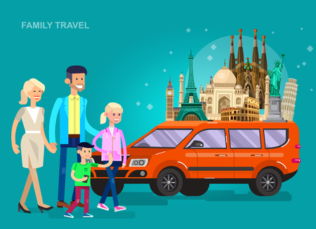 sagrada familia: High quality, detailed most famous World landmarks Statue of Liberty, Taj Mahal, Eiffel Tower, Leaning Tower, Big Ben, Colosseum, Cathedral Sagrada Familia. Characters family travel by car Illustration