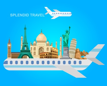 High detailed most famous World landmarks Statue of Liberty, Taj Mahal, Eiffel Tower, Leaning Tower, Big Ben, Parthenon, Egyptian Sphinx and Pyramids, Colosseum, Cathedral Sagrada Familia on plane