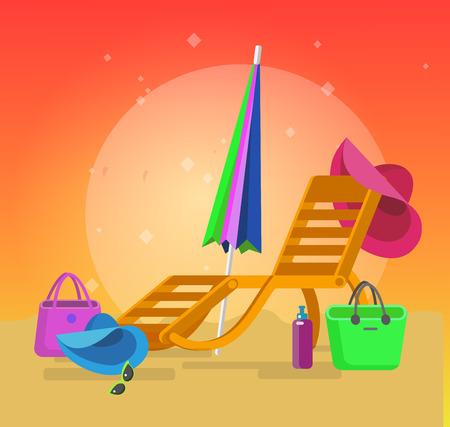 longue: beach chaise longue, recliner in different design, vector beach chaise longue set, beach chaise longue illustration on background. Vector beach chaise longue