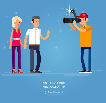 videographer: cool detailed character Photographer and videographer with camera photographs people
