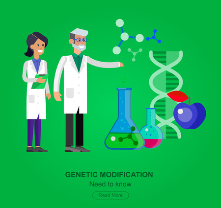 technician: detailed character men woman scientis, laboratory technician looking through a microscope, Biotechnology icons concept, composition of genetic engineering