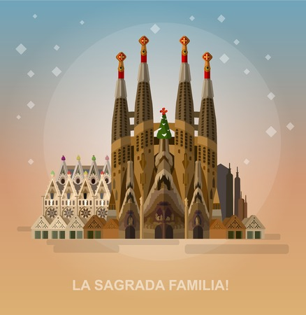 High quality, detailed most famous World landmark. Vector illustration of La Sagrada Familia - the impressive cathedral designed by Gaudi. Travel vector. Travel illustration. Travel landmarks