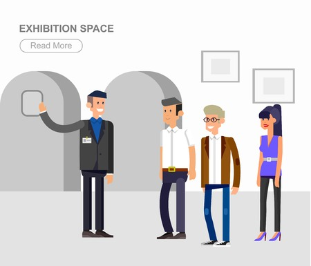 extensive: Funny character people in museum, guided tour, exhibition space, flat banners set