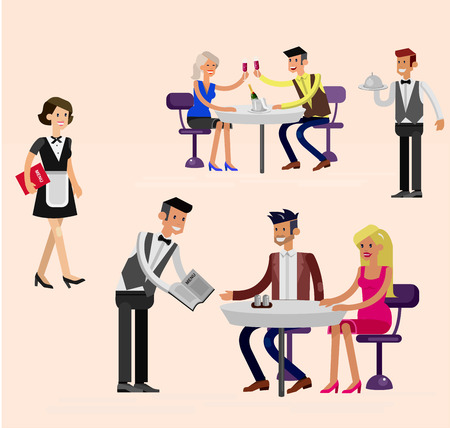 guests: Vector detailed character people in the restaurant, canteen catering service for public and personnel restaurant, restaurant waiter serves guests. Vector restaurant illustration Illustration