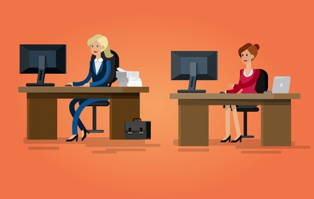 cubicle: Vector detailed character corporate Office worker, business team people sitting behind desk. Office workers. Men and women office worker. Office worker cool flat  illustration Illustration