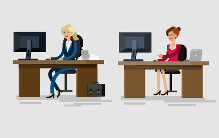 Vector detailed character corporate Office worker, business team people sitting behind desk. Office workers. Men and women office worker. Office worker cool flat  illustration Illustration