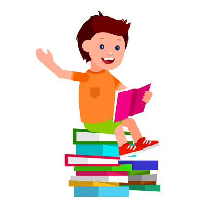 day dreaming: Cute vector character child. Happy kid illustration reading book. Education and child development. Banner for the kindergarten or children club, school of Arts