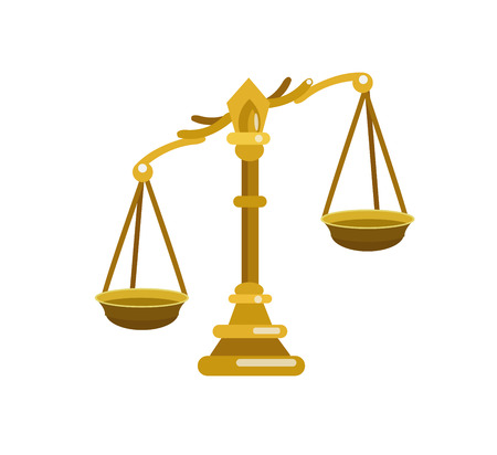 acquittal: Scales of Justice symbolizing the measure of a cases support and opposition in a court of law. Scales of Justice vector. Illustration Scales of Justice. Pen Scales of Justice  icon isolated on white