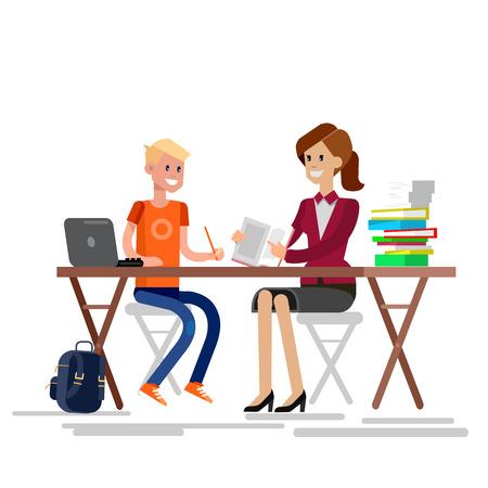 tutor: Woman teacher tutor tutoring boy kid at home. Mother helping son with homework. Flat teacher, style vector teacher, teacher illustration