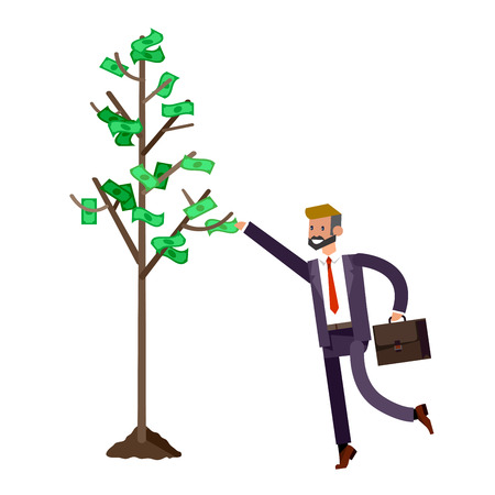 investor: Vector detailed character business investor has the money gains. Earnings have grown as a tree with dollars. Web concept