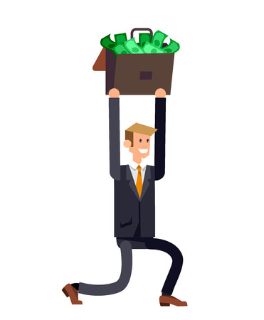 metaphoric: Vector detailed character business investor has the money gains. Web concept Illustration