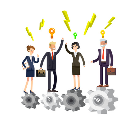 turn up: Vector detailed character businessman and businesswoman pieces of company mechanism. Business concept, team turn up cog wheel gear infographic concept. Teamwork workforce corporate spirit.