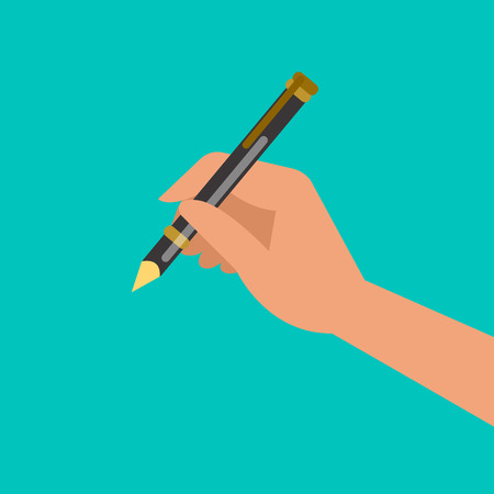dictate: Hand holding pen, hand writing. Vector illustration