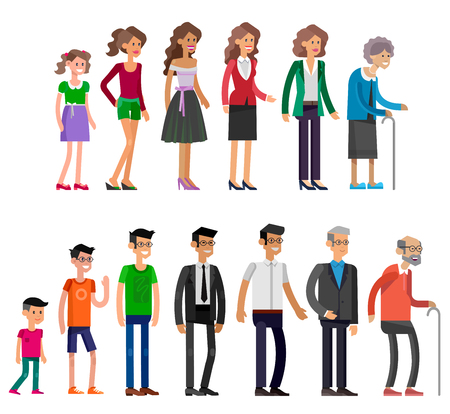 Detailed characters people isolated on white background. Generations woman and men. All age categories - infancy, childhood, adolescence, youth, maturity, old age. Stages of development Ilustração