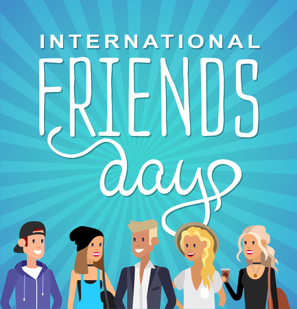 brother brotherhood: Group of happy friends with Friends day title. Cartoon hand drawn illustration for Friends day. Friends day card Illustration