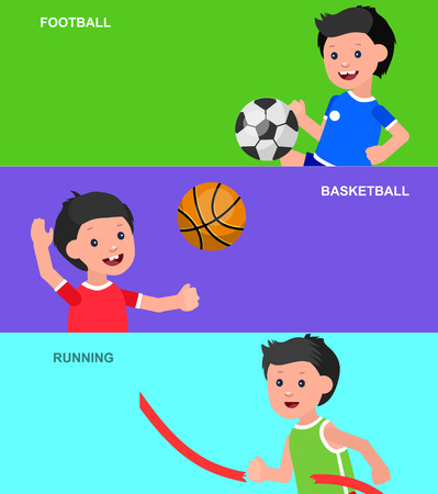 futbol infantil: Cute vector character child playing football, basketball, a child playing with a kite, a child runs. Cheerful child. Happy boy kid illustration. Detailed character child