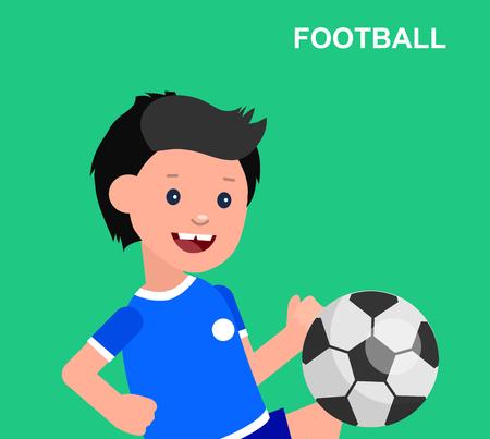futbol infantil: vector del carácter de juego de fútbol Niño lindo. El niño alegre. Ilustración feliz niño chico. niño carácter detallada. Vector para el día de los niños celebración, diversión infantil. Vectores