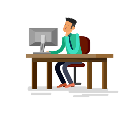 Vector detailed character corporate business worker sitting behind desk and dream about vacation. Office worker sleeps at work. Cool flat  illustration. Vector business Office worker character Illustration