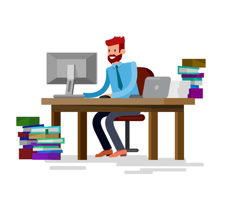 Vector detailed character corporate business team people  sitting behind desk. Office worker. Men, cool flat  illustration. Vector business Office worker character