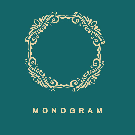circle flower: Elegant monogram design. Vector linear frame and monogram, monogram logo template. Trendy monogram and linear frame. Monogram and calligraphic elegant ornament elements. Identity design Illustration