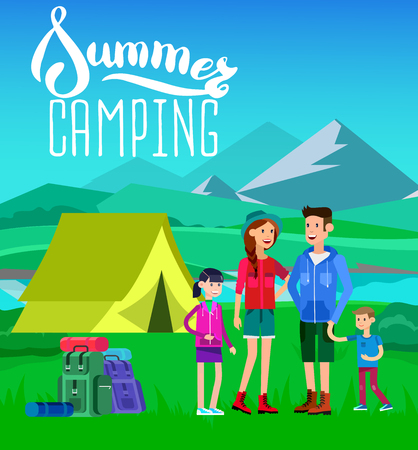 Character happy family camping. Camp tent and summer landscape. Morning landscape in the mountains.