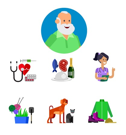retired: vector detailed character senior, senior age. Old age man and icons. Pension hobbies and interests leisure of pensioner
