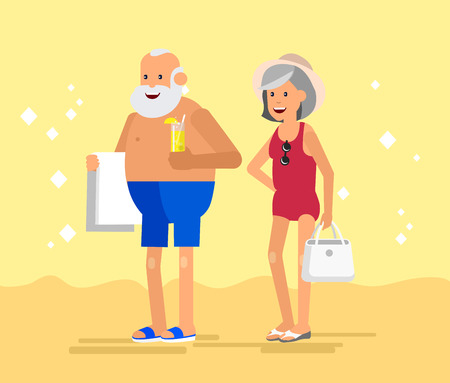 couple in summer: Character senior, senior age travelers. Old age retired tourists couple. Elderly couple senior having summer vacation. Old tourists, senior in swimsuits go on beach. Active