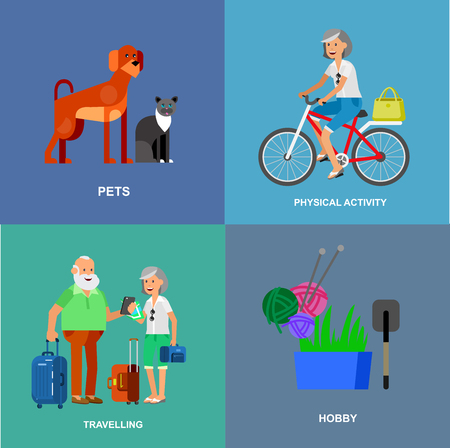 third age: vector detailed character senior, senior age travelers. Icon and object. Elderly couple senior having summer vacation. Old tourists with map and gadget. Active senior riding on a bicycle Illustration
