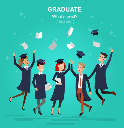 cheerful cartoon: Vector character graduate and students, university students graduation. University courses, online education, exam preparation. University education banner, vector graduate, illustration graduate Illustration