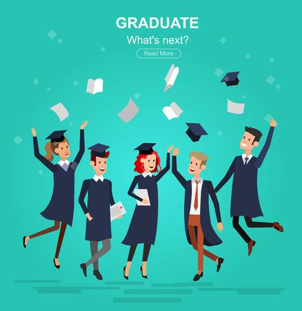 graduacion caricatura: Vector de caracteres graduados y estudiantes, estudiantes universitarios de graduación. cursos universitarios, la educación en línea, preparación de exámenes. Universidad bandera educación, vector graduado, graduado de la ilustración