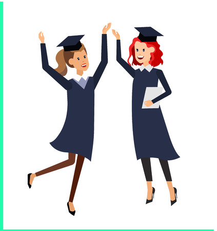 exam preparation: Vector character graduate and students, university students graduation. University courses, online education, exam preparation. University education banner, vector graduate, illustration graduate Illustration