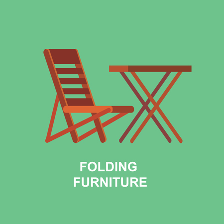 single seat: Camping and barbecue object. Camping Weekend and barbecue party and picnic icons. Hiking, barbecue and camping object. Folding furniture Illustration