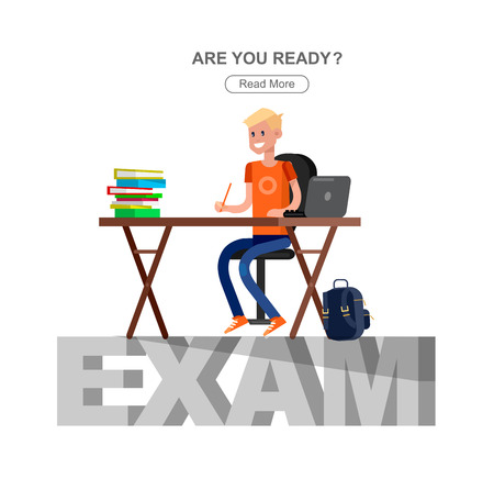 schoolchildren: Studying in classroom with homework. Flat character children studying, style vector child studying, Schoolchildren studying illustration